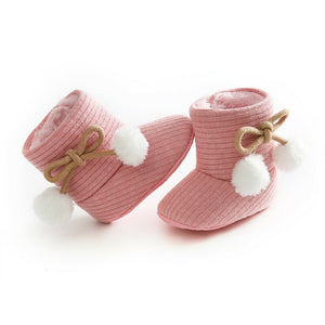 lovebabymammy.com 2020 Baby Autumn Winter Boots Baby Girl Boys Winter Warm Shoes Solid Fashion Toddler Fuzzy Balls First Walkers Kid Shoes 0-18M