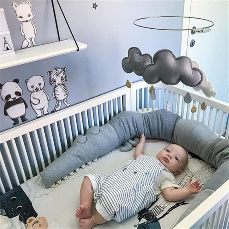lovebabymammy.com 205cm Cot Bumper In The Crib For Baby Room Decor Crib Crocodile Pillow Cot Bumper Baby Bed Bumper Protection Baby Bed Decoration