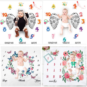 lovebabymammy.com Newborn Baby Milestone Blankets Photography Blanket Bathing Towels Flower Print Soft Blanket DIY Infant Photography Props