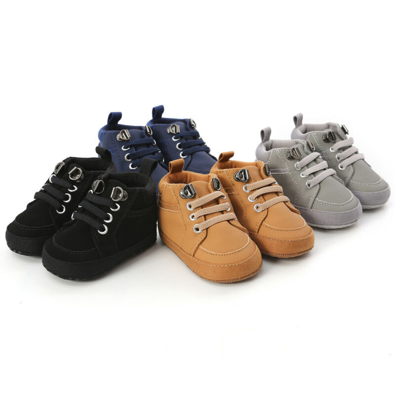 lovebabymammy.com Pudcoco Baby Shoes Boy Newborn T-Tier PU Leather Soft First Walkers Soles Leather Crib Soft Sole Shoe Sneaker 0-18M