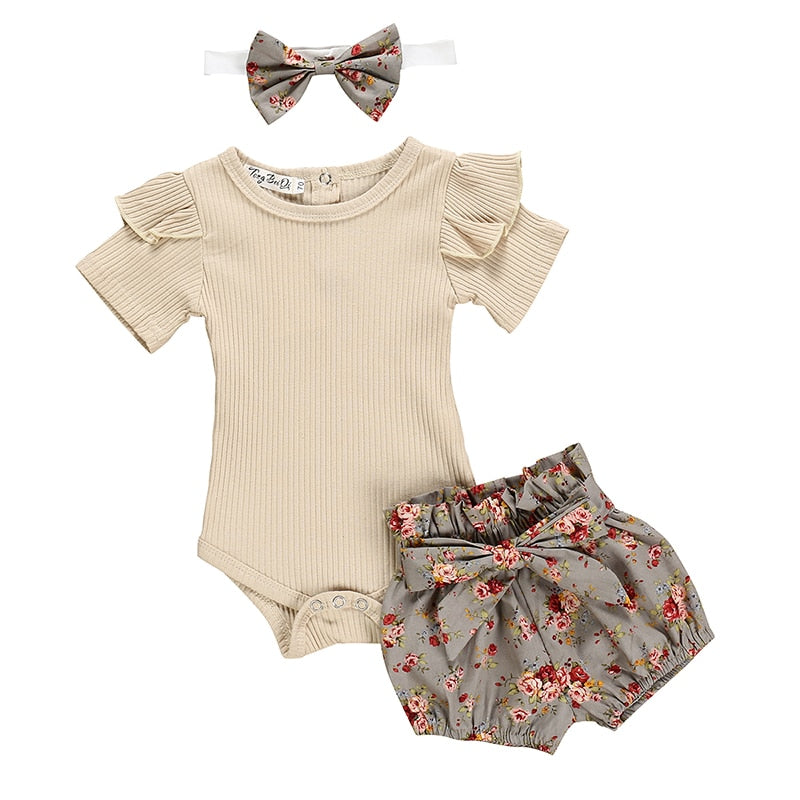 lovebabymammy.com Newborn Baby Girls Clothing Sets Summer Solid Color Short Sleeve Romper Flower Shorts Headband 3Pcs Outfit New Born Infant Clothing