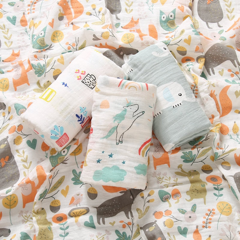 lovebabymammy.com Baby Blankets Cotton Newborn Photography Accessories Stroller Cover Cartoon Pattern Wrap Baby Play Mat Muslin Swaddle Blanket