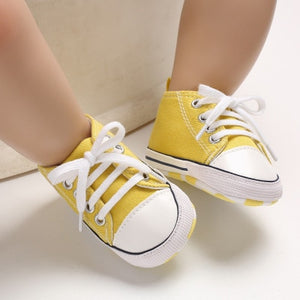 lovebabymammy.com New Canvas Baby Sports Sneakers Shoes Newborn Baby Boys Girls First Walkers Shoes Infant Toddler Soft Sole Anti-slip Baby Shoes