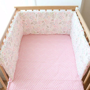 lovebabymammy.com Baby Crib Bumper For Newborns Soft Cotton Bed Bumper Detachable Zipper Baby Room Decoration Infant Cot Protector 1Pcs 180cm