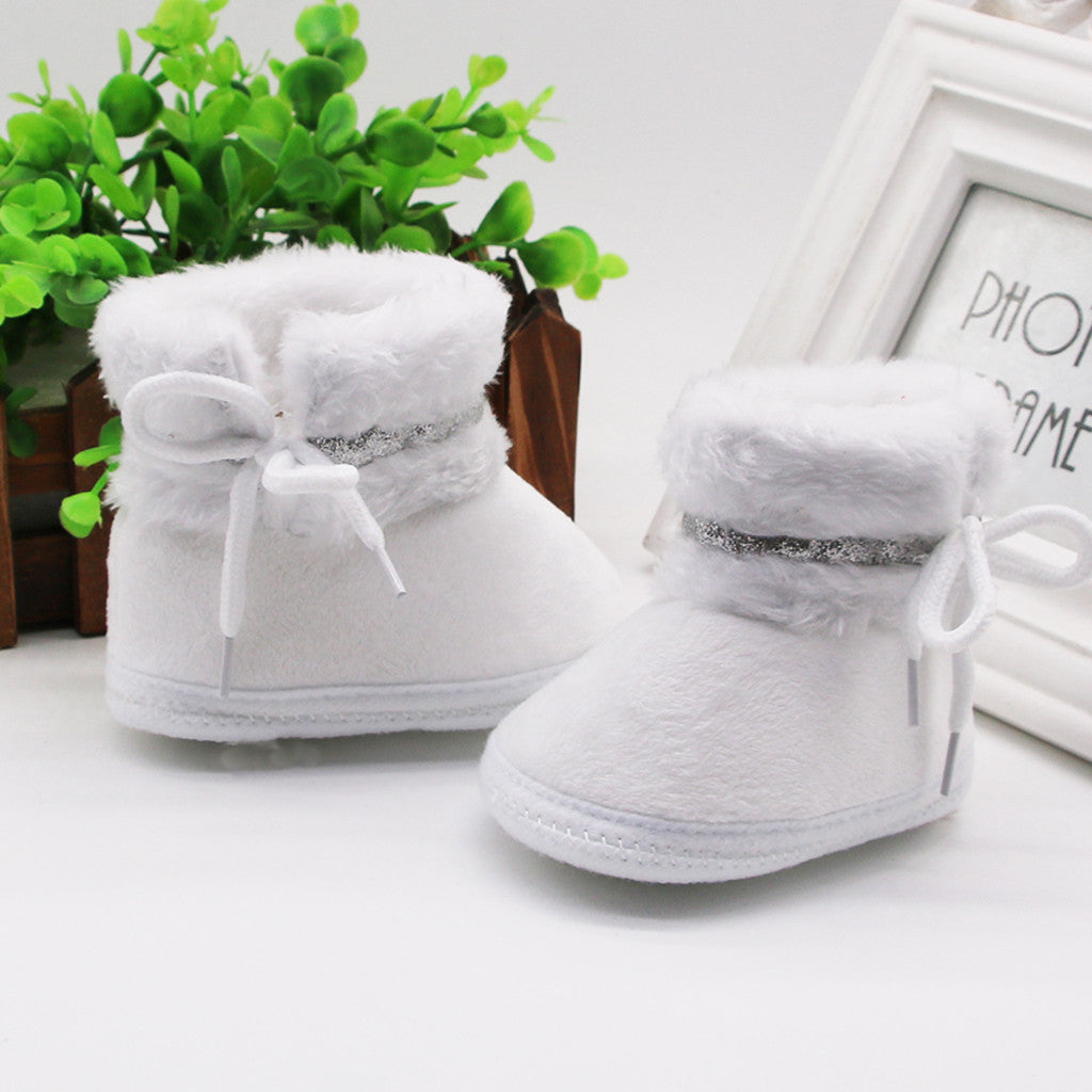 lovebabymammy.com Newborn Baby Girls Cashmere Plush Patchwork Winter Boots Infant Girl Bandage Fashion Warm Shoes Toddler Girls Cute Snow Boots