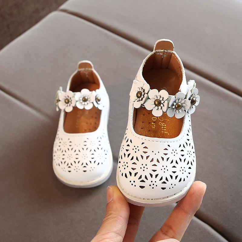 lovebabymammy.com Spring Baby Girls Shoes 2020 New Children Princess Flower Casual Leather Kids Shoes White Pink Breathable Non-slip B876