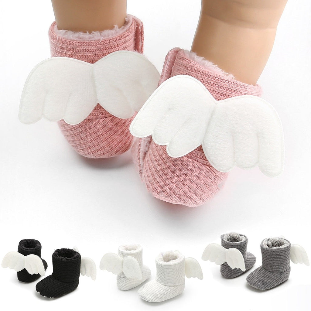 lovebabymammy.com Soft Baby Winter Booties Socks Newborn Warm Gifts Baby Cute Crib Shoes Little Kids Lovely Shoes With Angle Wings 0-18Months