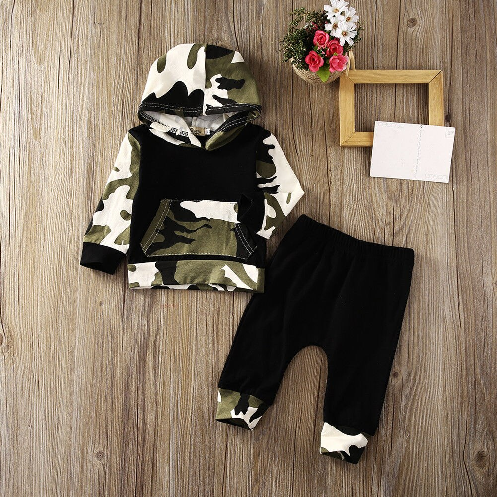 lovebabymammy.com Boys Clothing Sets 0-3Y USA Casual Toddler Baby Kids Boy Hooded Tops Pants 2Pcs Outfits Set Clothes