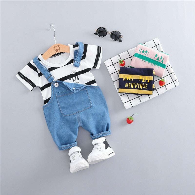 lovebabymammy.com Summer Baby Girls Boys Clothing Toddler Casual Fashion Infant Clothes Suits T Shirt Strap Shorts 2Pcs/Sets Kids Children Costume Girls Clothing Sets Boys Clothing Sets