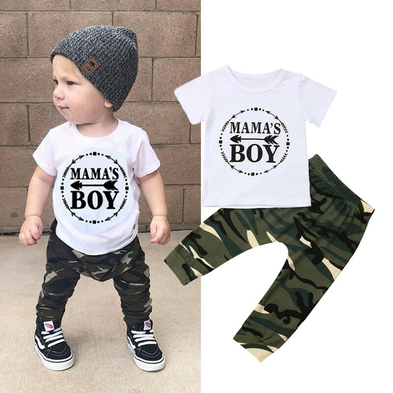 lovebabymammy.com Summer Newest Fashion Newborn Baby  Boys Clothing Sets Cotton Letters Tops T-Shirt Camouflage Pants 2Pcs Outfits Summer Clothes