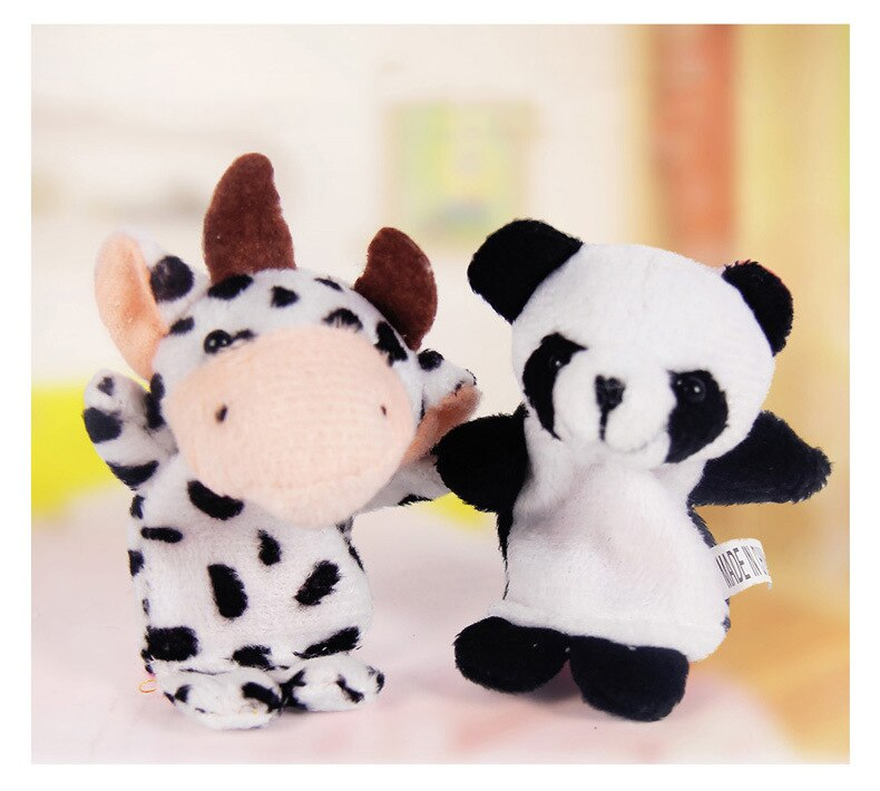 lovebabymammy.com 10pcs/Lot Cartoon Animal Velvet Finger Puppet Finger Toy Finger Doll Baby Cloth Educational Hand Story Baby Toy