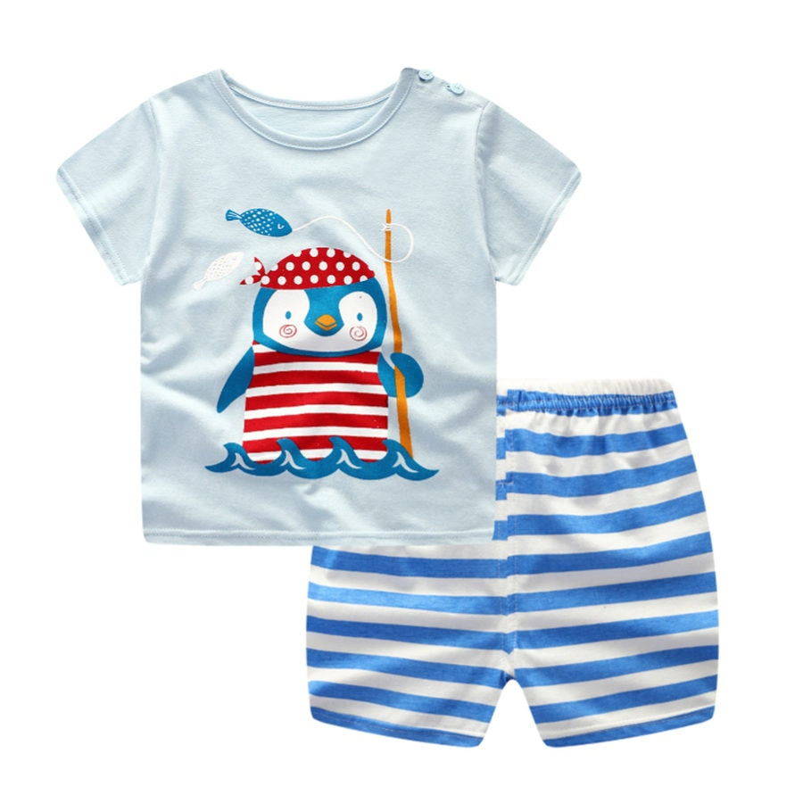 lovebabymammy.com 3pcs/lot 2020 Baby Girls Boys Clothing Sets Summer Short Sleeve Cartoon Cotton Infant Newborn Clothes Suit Outerwear T-shirts