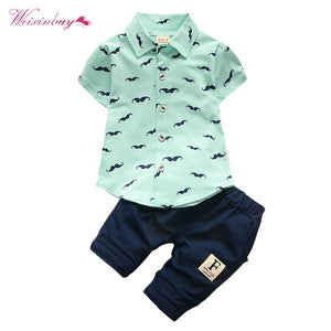 lovebabymammy.com Baby Boys Clothing Sets Bebe Fashion T-shirt+Solid Pants Set Summer Kid Outfit Toddler Children Cotton Tracksuit Clothes