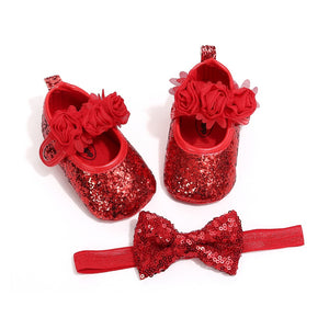 lovebabymammy.com 0-18M Newborn Baby Girl Sequins Bling PU Leather Shoes + Headband Lace Bow Tie Prewalker Pageant Prom Shoe