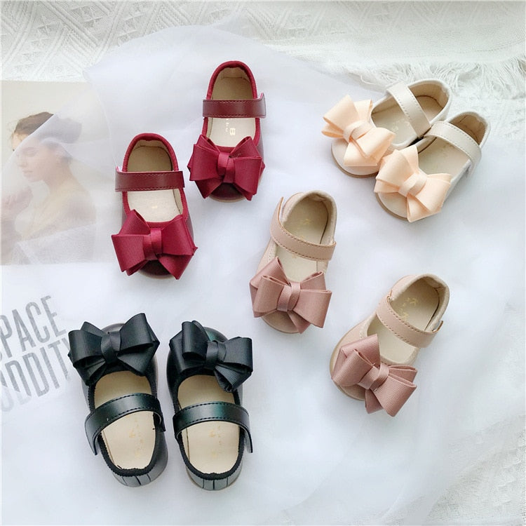 lovebabymammy.com Baby Leather Girls Shoes 1-3 Years Old Princess Single Shoes for Baby Infant Walking Kids Girls Butterfly Knotted Flat-soled Shoes