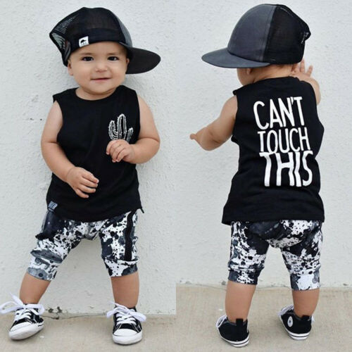 lovebabymammy.com 2pcs Newborn Baby Boy Cactus Print Tank Tops Vest Shorts Pants Summer Outfits Clothes Boys Clothing Sets