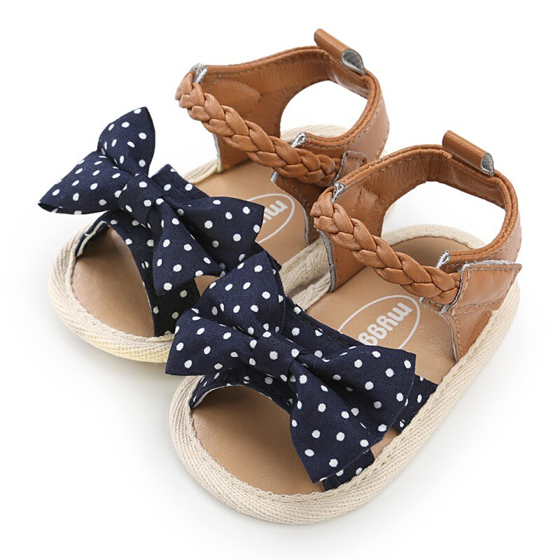 lovebabymammy.com Baby Girl Sandals Summer Baby Girl Shoes  Cotton Canvas Dotted Bow Baby Girl Sandals Newborn Baby Shoes Playtoday Beach Sandals
