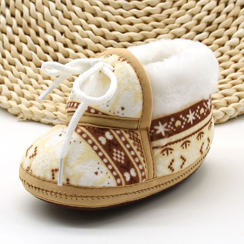 lovebabymammy.com Cute Baby Shoes Spring Warm Soft Baby Retro Printing Shoes Cotton Padded Infant Baby Boys Girls Soft Boots 6-12M