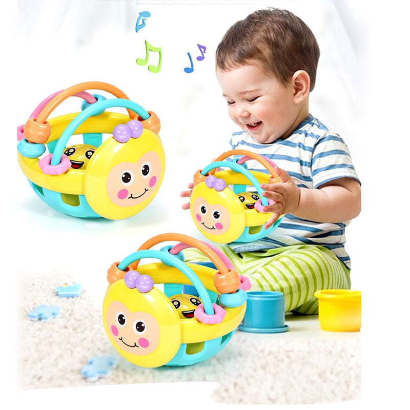 lovebabymammy.com Soft Rubber Juguetes Bebe Cartoon Bee Hand Knocking Rattle Dumbbell Early Educational Toy For Kid Hand Bell Baby Toys 0-12 Month