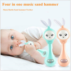 lovebabymammy.com Four in one music Flashing sand hammer Baby Teether Rattles toy Educational safety material Hand Bell Early Learning Toys