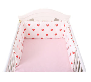 lovebabymammy.com Baby Bed Crib Bumper U-Shaped Detachable Zipper Cotton Padded Baby Crib Rail Cover Protector Set  Line bebe Cot Protector x 1.8m