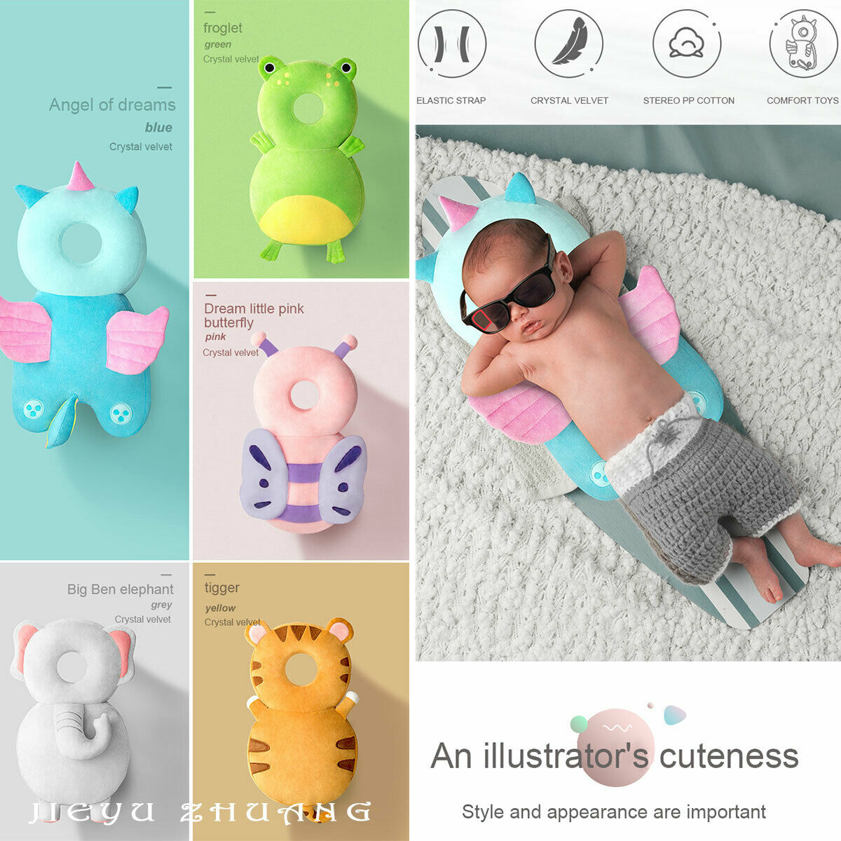 lovebabymammy.com 2020 Newborn Toddler Baby Head Protector Safety Pad Cushion Back Prevent Injured Unicorn Bee Cartoon Security Pillows 1-3Y