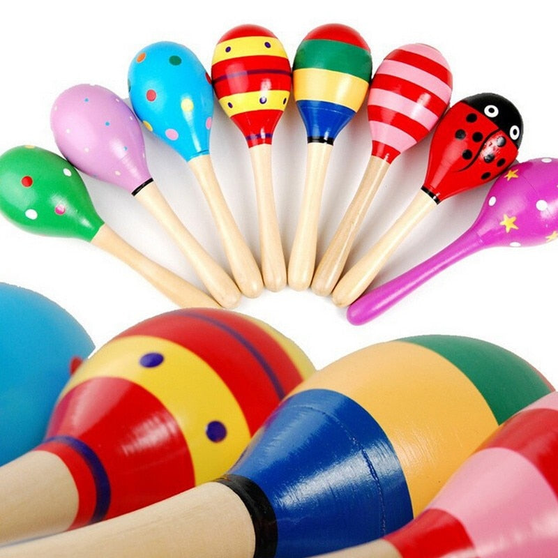 lovebabymammy.com 1pc Baby Kid Wooden Ball Toy Sand Hammer Rattle Musical Instrument Percussion Infant (Multicolor)