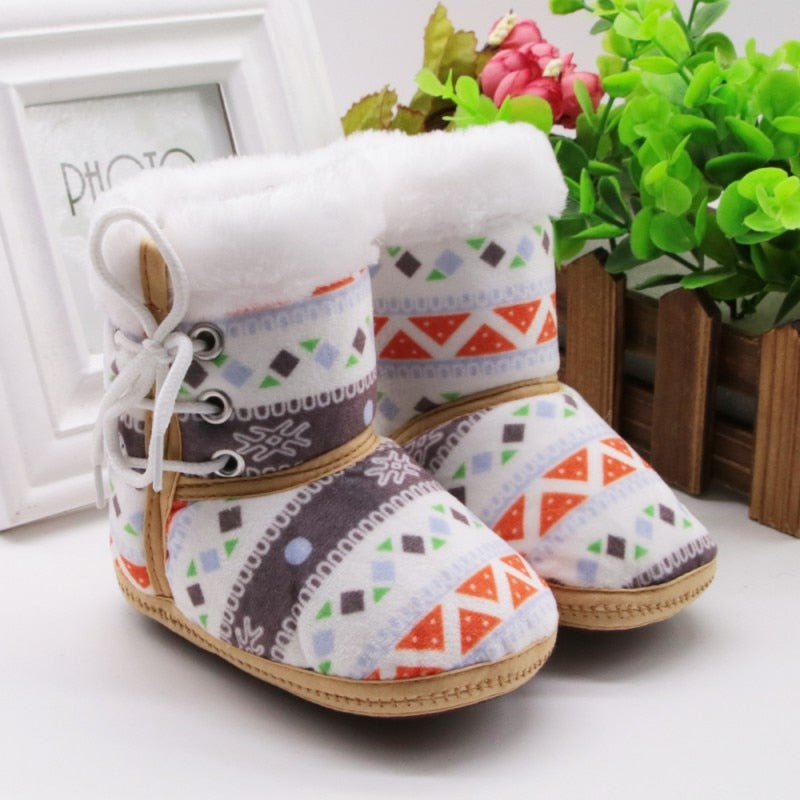 lovebabymammy.com 1 Pair 0-18M Autumn Winter Warm Fleece Snow Boots For Baby Girl Boy Anti-silp Prewalker Bootie Shoes