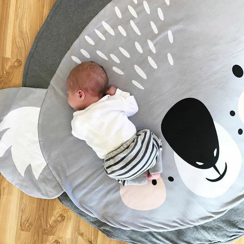 lovebabymammy.com Play Mat Cartoon Animal Baby Mats Newborn Infant Crawling Blanket Cotton Round Floor Carpet Rugs Mat for Kids Room Nursery Decor