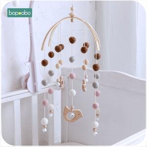 lovebabymammy.com Bopoobo 1 set Silicone Beads Baby Mobile Beech Wood Bird Rattles Wool Balls Kid Room Bed Hanging Decor Nursing Children Products