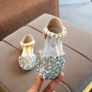 lovebabymammy.com Gold Silver Pink summer Children Leather Girls Shoes  Casual Girls Princess Party Shoes  Fashion Sequins Bow Pearl Leather обувь #Y1