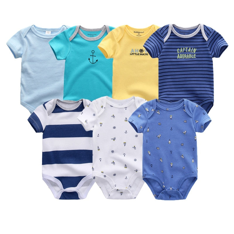 lovebabymammy.com Uniesx Newborn Baby Rompers Clothing 7Pcs/Lot Infant Jumpsuits 100%Cotton Children Roupa De Bebe Boys Clothing Sets Girls Clothing Sets