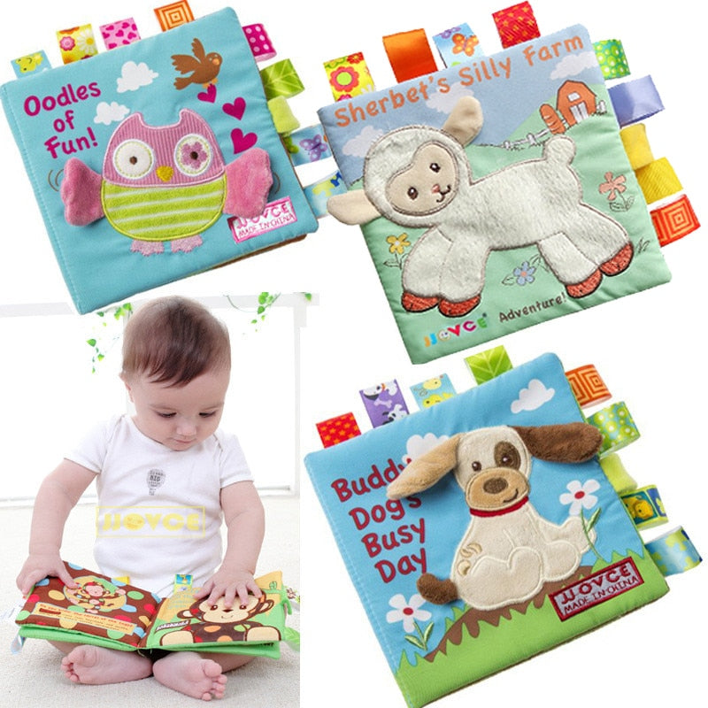 lovebabymammy.com Animal Style Monkey/Owl/Dog Newborn Baby Toys Learning Educational Kids Cloth Books Cute Infant Baby Fabric Book Ratteles Toy