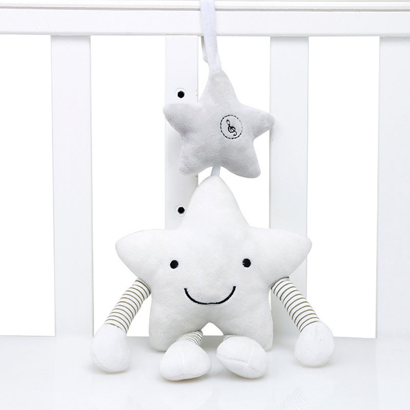 lovebabymammy.com New Baby Toys For Stroller Music Star Crib Hanging Newborn Mobile Rattles On The Bed Babies Educational Plush Toys (White)