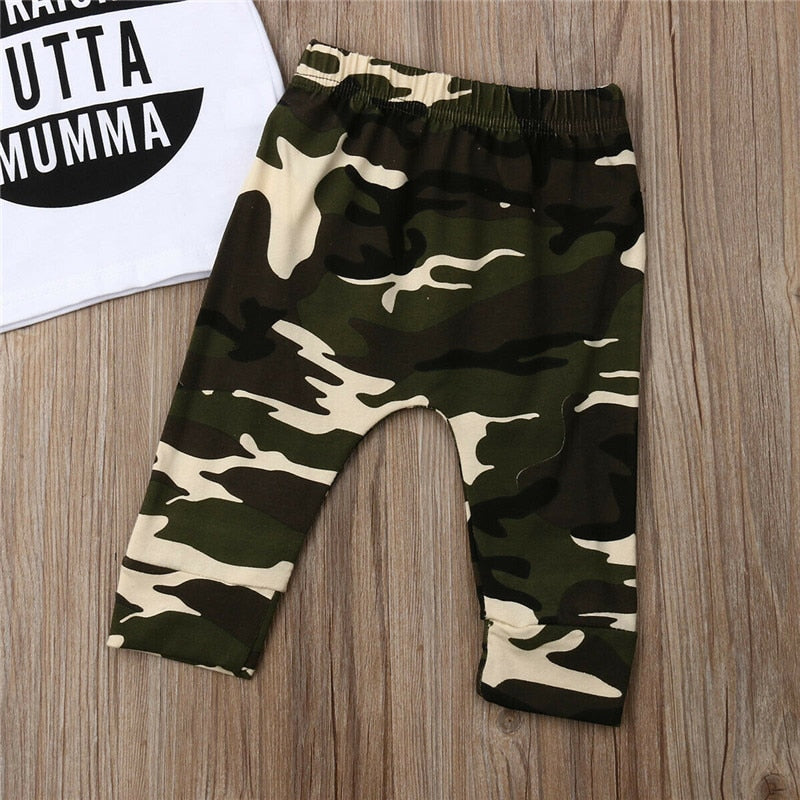 lovebabymammy.com Newborn Baby Boys Clothing Sets Short Sleeve T Shirt +Long camouflage Pants Cotton Outfits New Born Clothes Set