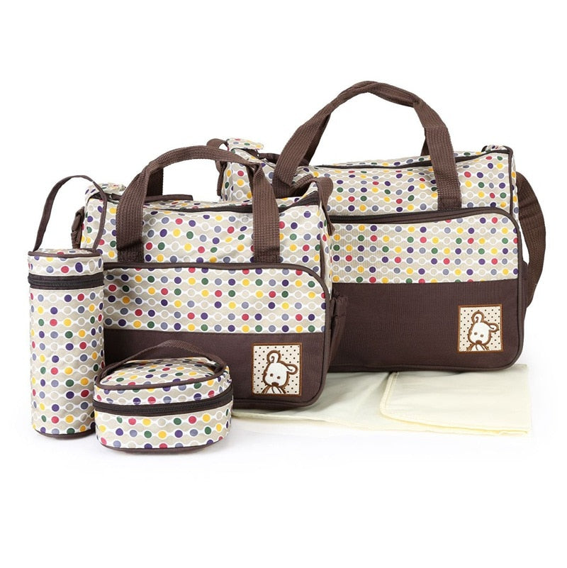 lovebabymammy.com 39*28.5*17CM 5pcs Baby Diaper Bag Suits For Mom Baby Bottle Holder Mother Mummy Stroller Maternity Nappy Bags Sets