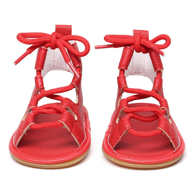 lovebabymammy.com Summer Baby Girl Sandal Pu Leather Lace Up Baby Peep Toe Flat Brand Toddler Beach shoes Sandals & Clogs