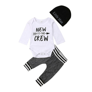 lovebabymammy.com 3Pcs Infant Newborn Baby Boy Romper+Pants Outfit Clothes Bodysuit Playsuit 0-18M Boys Clothing Sets