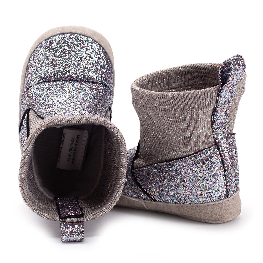 lovebabymammy.com 2020 Brand New Newborn Infant Baby Girls Boys Sequined Boots Autumn Winter Soft Sole Prewalker Elastic Snow Shoes Boots 0-18M