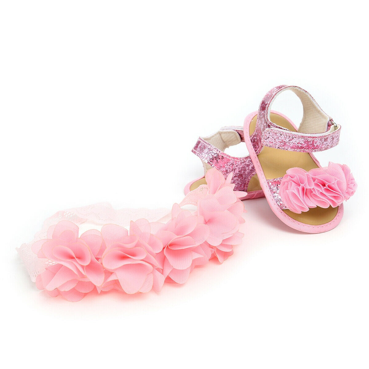 lovebabymammy.com 2020 Baby Summer Clothing Newborn Kid Baby Girl Flower Sandals Shoes Soft Sole Hook Casual Summer Shoes +Headband 2Pcs Solid Set