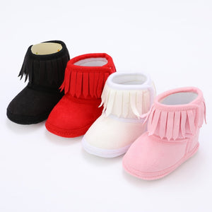 lovebabymammy.com Newborn Baby Winter Fringe Boots Girl Newborn Solid Color Tassel Soft Bottom New Cotton Warm Boots 0-18M