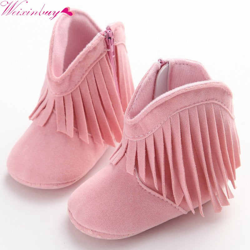 lovebabymammy.com Bebe Moccasin Moccs Newborn Baby Girl Boy Kids Solid Fringe Shoes Infant Toddler Soft Soled Anti-slip Boots 0-18M