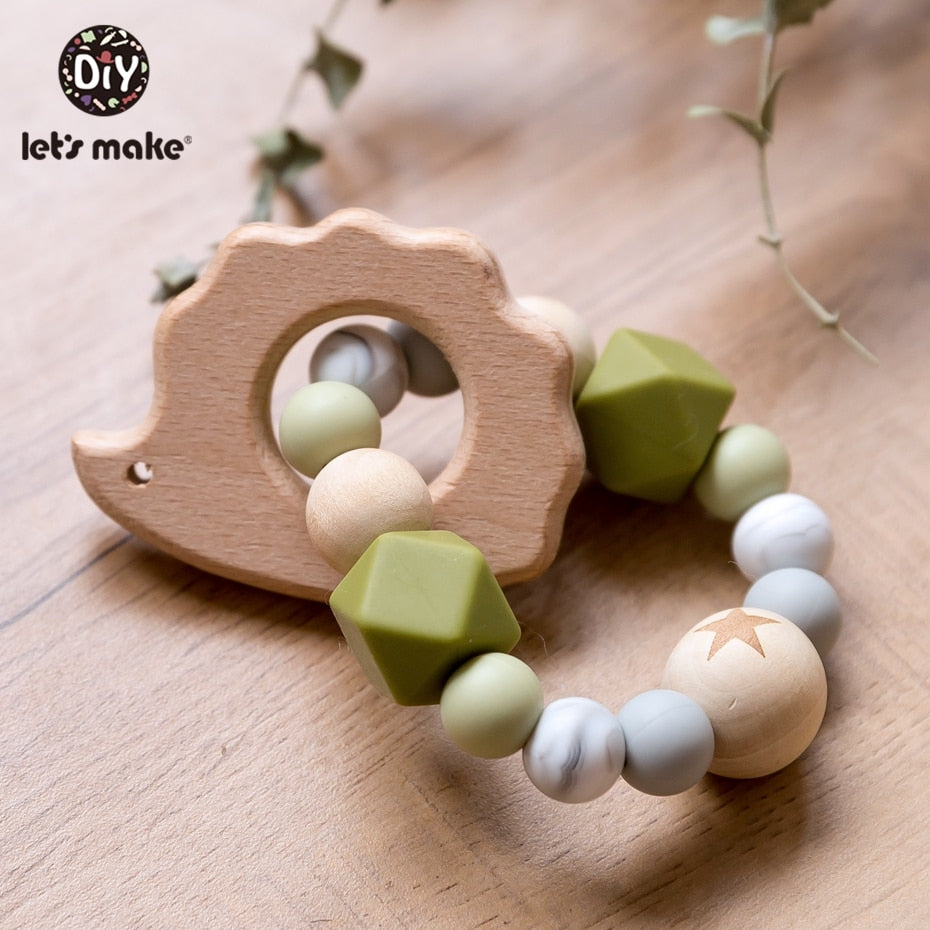 lovebabymammy.com Let'S Make Wooden Rattle Teether Baby Toys Engraved Wood Beads Hexagon Teether Silicone Beads 12Mm Tiny Rod Baby Crib Rattle