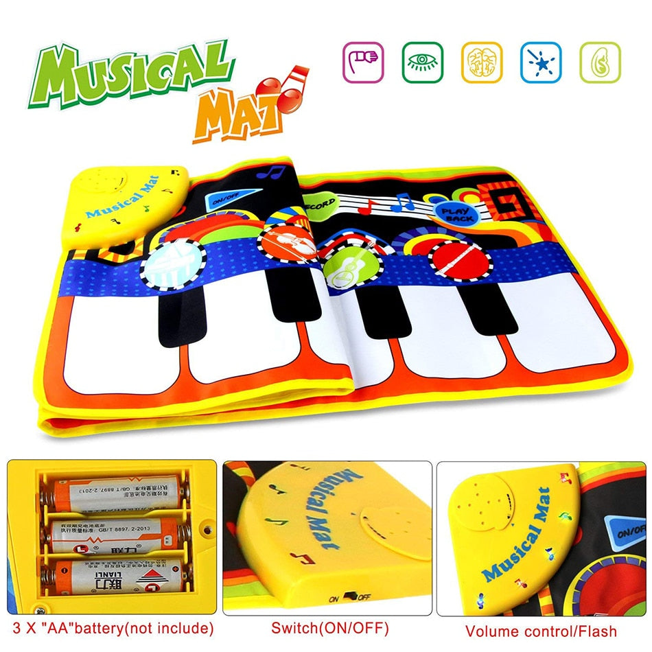 lovebabymammy.com 110x36cm Musical Piano Mat Baby Play Mat Toy Musical Instrument Mat Game Carpet Music Toys Educational Toys for Kids Xmas Gift (Multicolor 36x110cm)