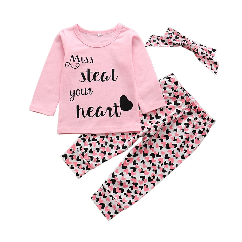lovebabymammy.com 3pcs!! 2020 New Autumn Baby Girls Clothing Sets Cotton T-shirt+pants+Headband 3pcs Infant Clothes Newborn Baby Girl Clothing Sets