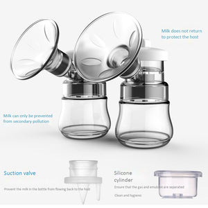 lovebabymammy.com Electric Breast Pump Smart Bilateral Large Suction Quiet Automatic Breast Pumping Device 9-Speed Adjustment Anti-Backflow