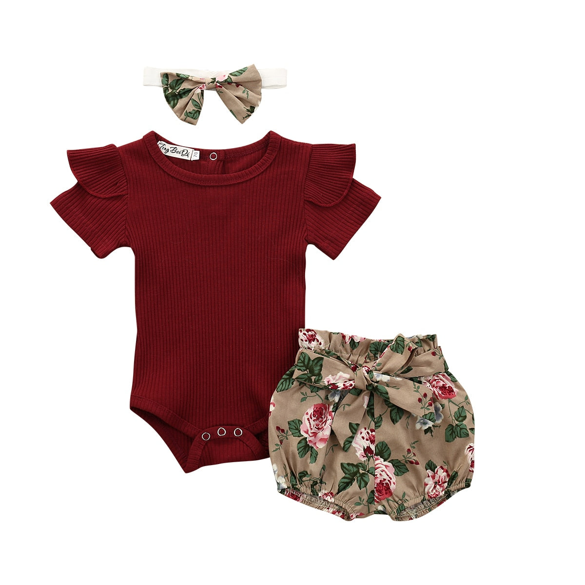 lovebabymammy.com Newborn Baby Girls Clothing Sets Fashion Solid color For Girls Outfit Bodysuit Shorts Headband New born Infant Clothing Sets