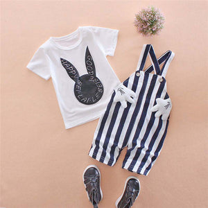 lovebabymammy.com Summer Baby Boys Clothing Sets Cartoon Toddler Baby Infant Girls Outfits T-shirt+Bib Pants Kids Clothing Sets Tracksuit