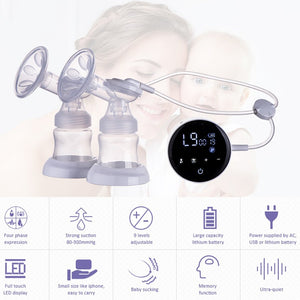 lovebabymammy.com Double Electric Breast Pumps Touch Screen Single Double Nipple Suction Powerful Automatic Milk Pump For Maternity Breast Feeding