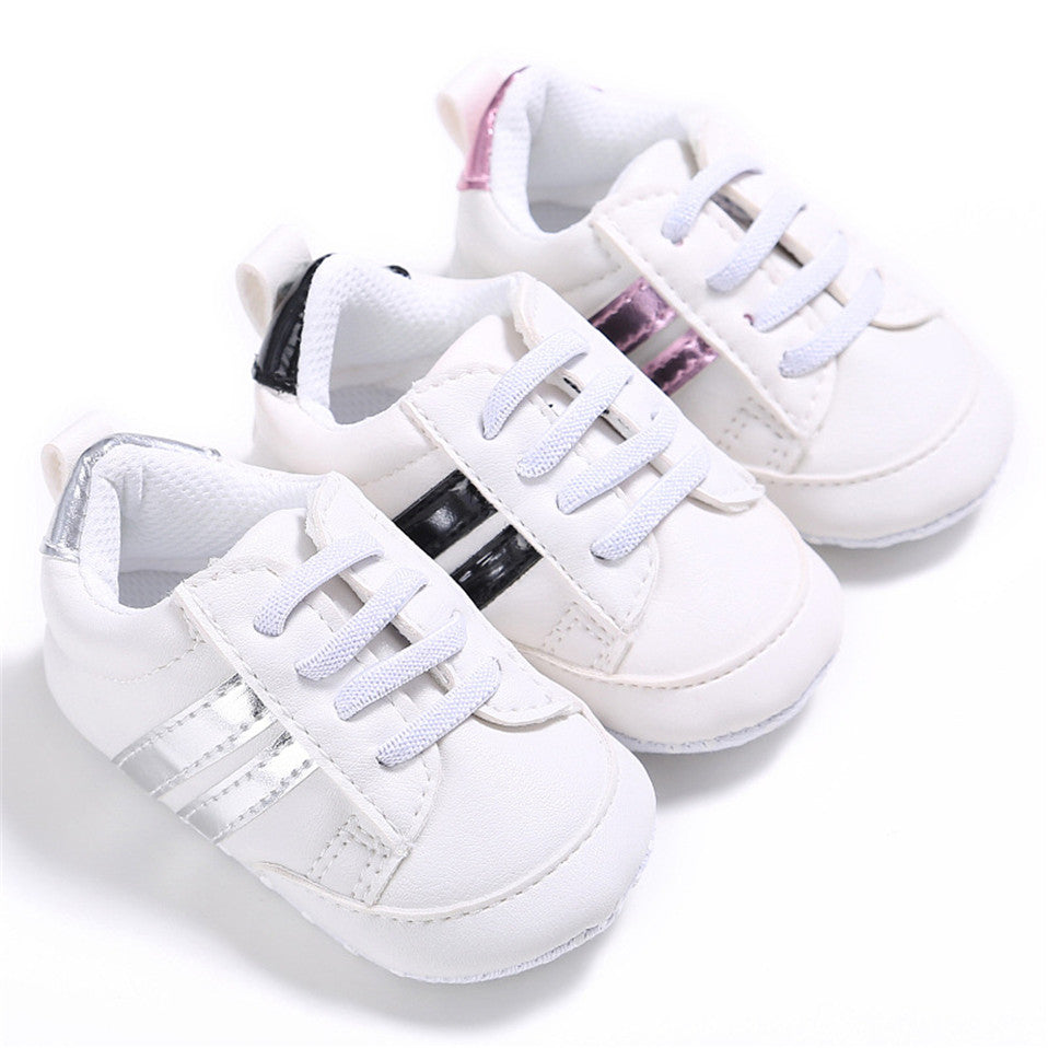 lovebabymammy.com 2020 Baby Shoes Newborn Boys Girls Two Striped First Walkers Kids Toddlers Lace Up PU Leather Soft Soles Sneakers 0-18 Months